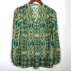 🦀Jones NY sheer long sleeve blouse Floral Print S